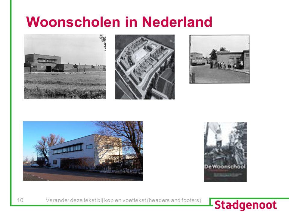 Verander deze tekst bij kop en voettekst (headers and footers) 10 Woonscholen in Nederland