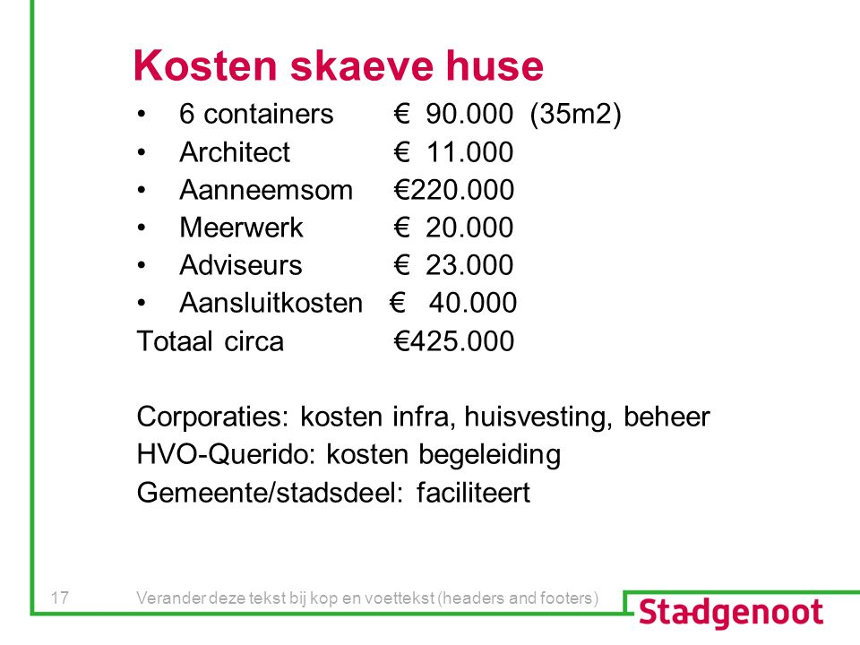 Verander deze tekst bij kop en voettekst (headers and footers) 17 Kosten skaeve huse 6 containers€ 90.000 (35m2) Architect€ 11.000 Aanneemsom€220.000 Meerwerk€ 20.000 Adviseurs€ 23.000 Aansluitkosten € 40.000 Totaal circa€425.000 Corporaties: kosten infra, huisvesting, beheer HVO-Querido: kosten begeleiding Gemeente/stadsdeel: faciliteert