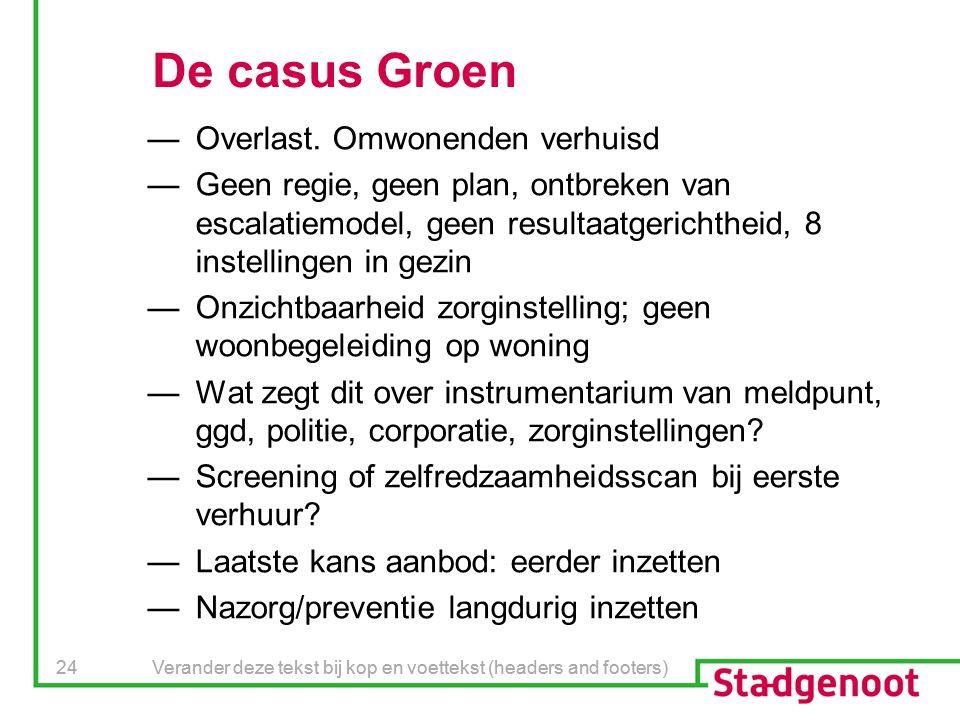 Verander deze tekst bij kop en voettekst (headers and footers) 24 Verander deze tekst bij kop en voettekst (headers and footers) 24 De casus Groen —Overlast.