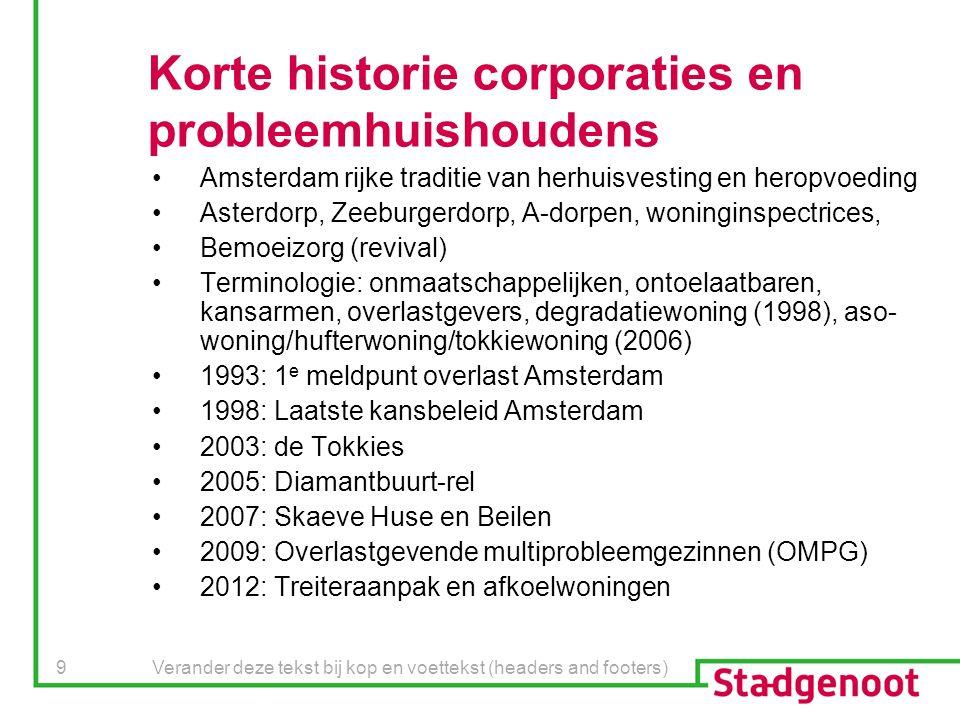 Verander deze tekst bij kop en voettekst (headers and footers) 9 Korte historie corporaties en probleemhuishoudens Amsterdam rijke traditie van herhui