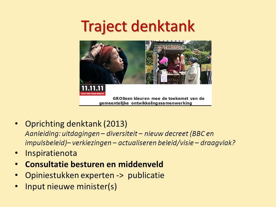 Traject denktank Oprichting denktank (2013) Aanleiding: uitdagingen – diversiteit – nieuw decreet (BBC en impulsbeleid)– verkiezingen – actualiseren beleid/visie – draagvlak.