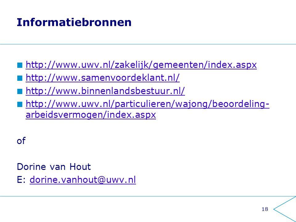 Informatiebronnen http://www.uwv.nl/zakelijk/gemeenten/index.aspx http://www.samenvoordeklant.nl/ http://www.binnenlandsbestuur.nl/ http://www.uwv.nl/