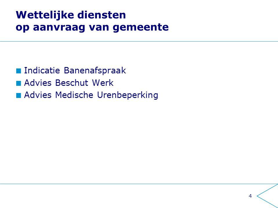 Wettelijke diensten op aanvraag van gemeente Indicatie Banenafspraak Advies Beschut Werk Advies Medische Urenbeperking 4