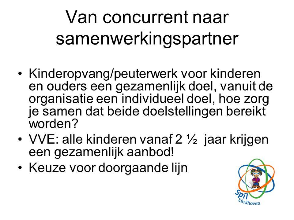 Van concurrent naar samenwerkingspartner Kinderopvang/peuterwerk voor kinderen en ouders een gezamenlijk doel, vanuit de organisatie een individueel doel, hoe zorg je samen dat beide doelstellingen bereikt worden.