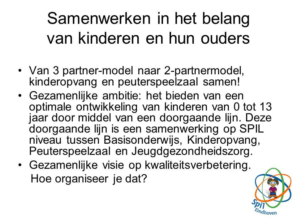 Samenwerken in het belang van kinderen en hun ouders Van 3 partner-model naar 2-partnermodel, kinderopvang en peuterspeelzaal samen.