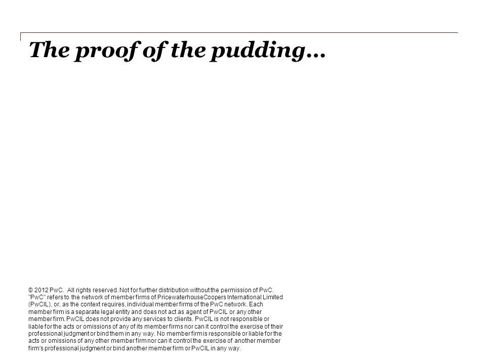The proof of the pudding… © 2012 PwC. All rights reserved.