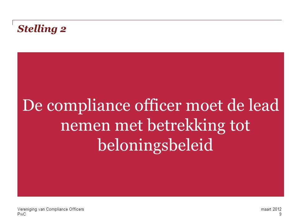 PwC Stelling 3 Als variabele beloning volledig wordt afgeschaft, dan is er ook geen rol meer voor de compliance officer Vereniging van Compliance Officers 10 maart 2012