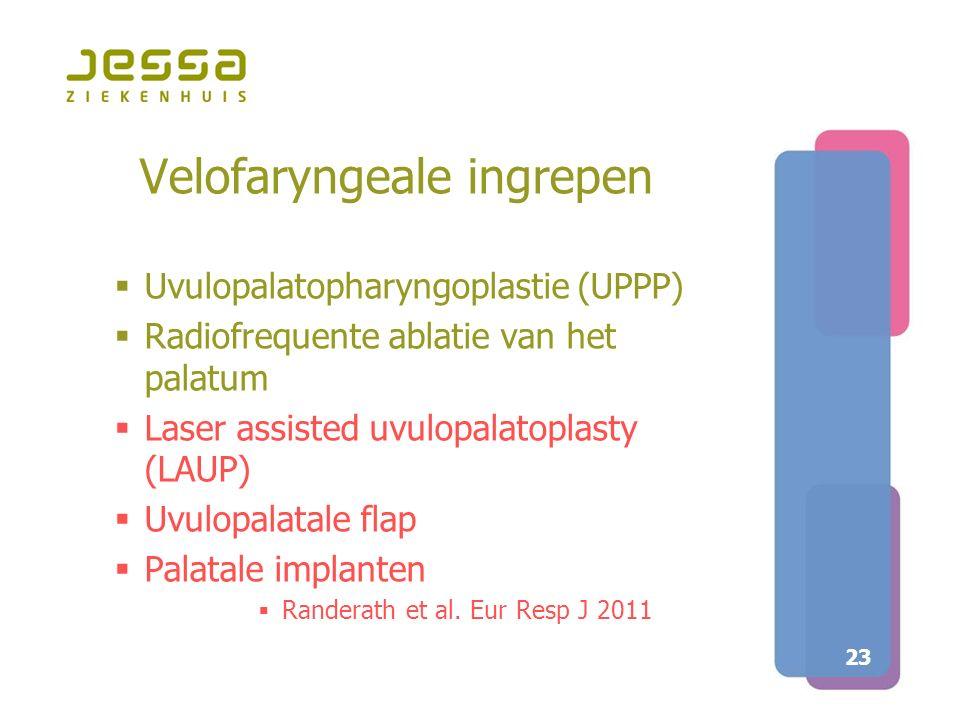 23 Velofaryngeale ingrepen  Uvulopalatopharyngoplastie (UPPP)  Radiofrequente ablatie van het palatum  Laser assisted uvulopalatoplasty (LAUP)  Uv