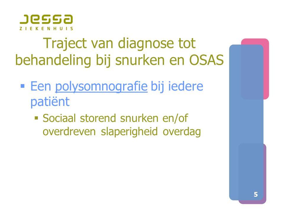 5 Traject van diagnose tot behandeling bij snurken en OSAS  Een polysomnografie bij iedere patiënt  Sociaal storend snurken en/of overdreven slaperi