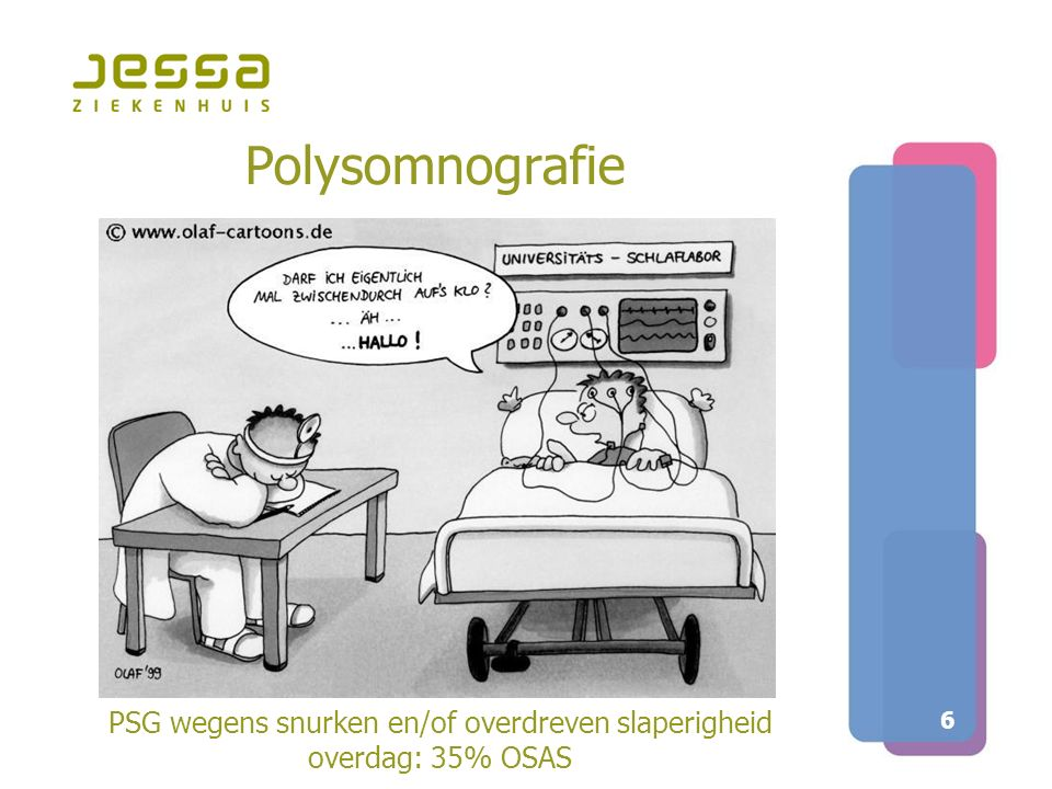 7 Traject van diagnose tot behandeling bij snurken en OSAS  Een polysomnografie bij iedere patiënt  Uitgebreid klinisch onderzoek