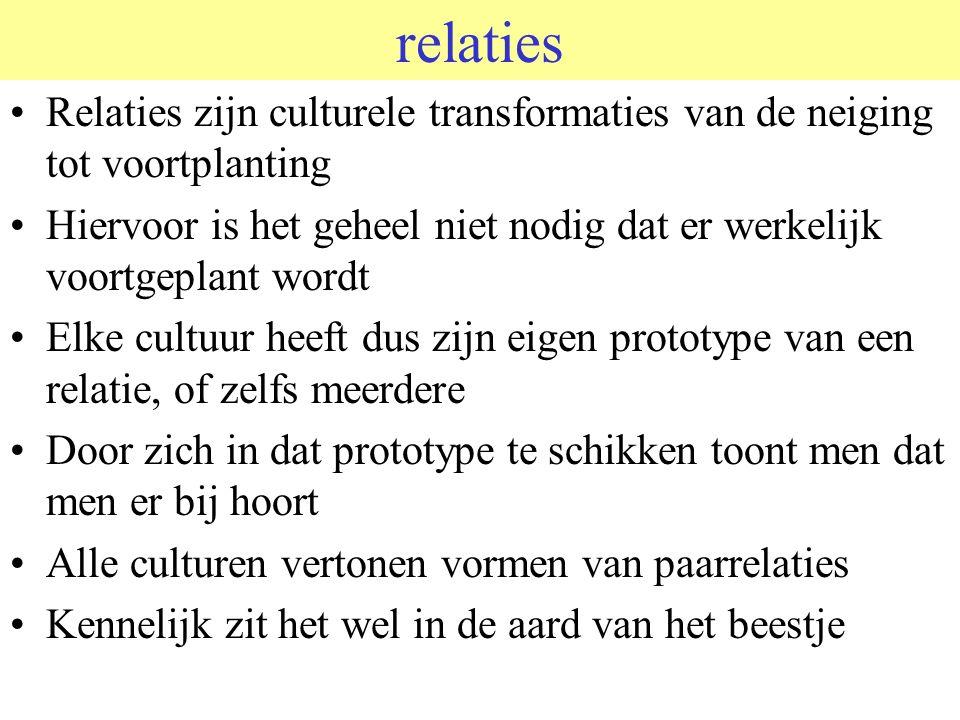 relaties Relaties zijn culturele transformaties van de neiging tot voortplanting Hiervoor is het geheel niet nodig dat er werkelijk voortgeplant wordt Elke cultuur heeft dus zijn eigen prototype van een relatie, of zelfs meerdere Door zich in dat prototype te schikken toont men dat men er bij hoort Alle culturen vertonen vormen van paarrelaties Kennelijk zit het wel in de aard van het beestje
