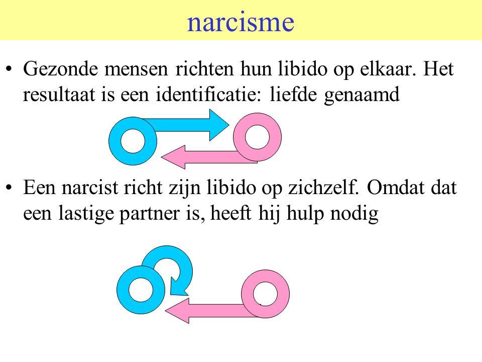narcisme Gezonde mensen richten hun libido op elkaar.
