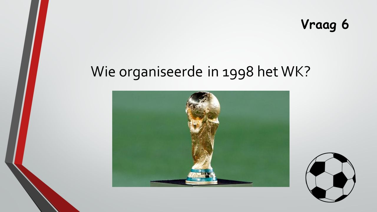Vraag 6 Wie organiseerde in 1998 het WK