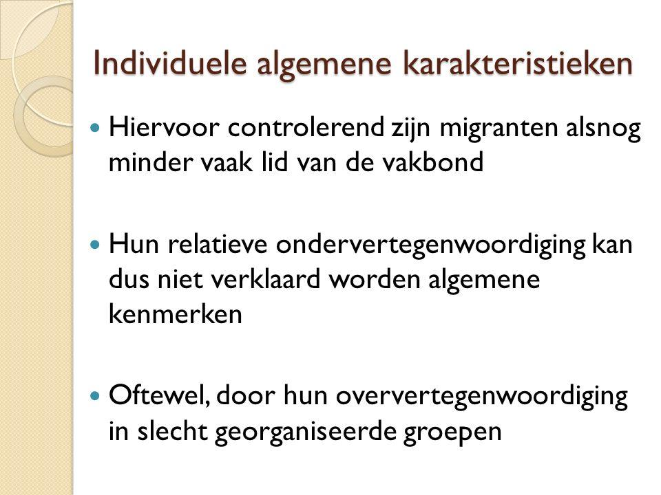 Individuele algemene karakteristieken Hiervoor controlerend zijn migranten alsnog minder vaak lid van de vakbond Hun relatieve ondervertegenwoordiging