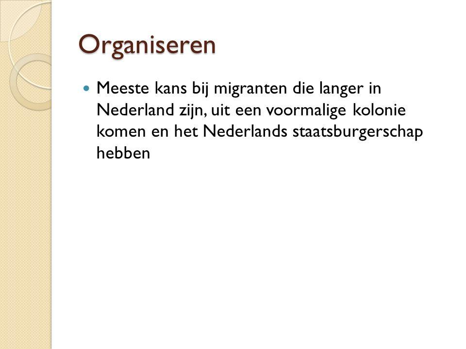 Organiseren Meeste kans bij migranten die langer in Nederland zijn, uit een voormalige kolonie komen en het Nederlands staatsburgerschap hebben