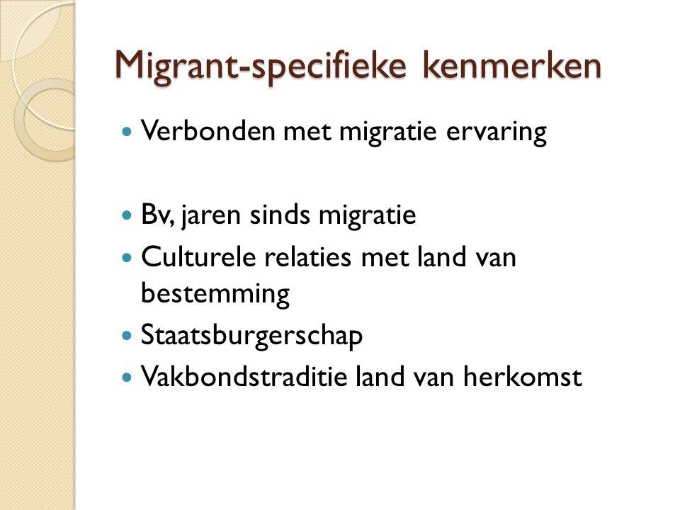 Migrant-specifieke kenmerken Verbonden met migratie ervaring Bv, jaren sinds migratie Culturele relaties met land van bestemming Staatsburgerschap Vakbondstraditie land van herkomst
