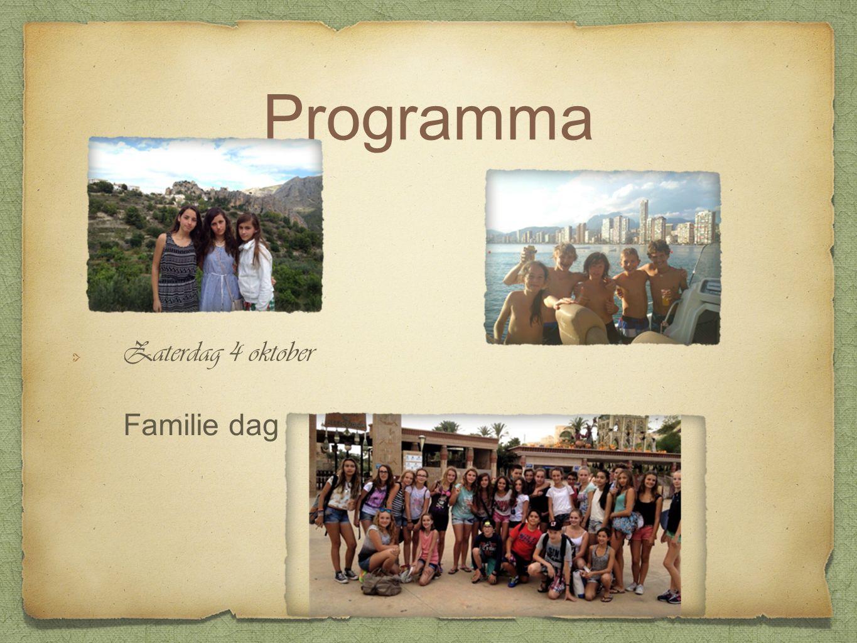 Programma Zaterdag 4 oktober Familie dag