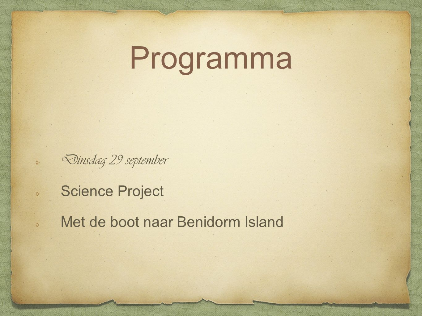Dinsdag 29 september Science Project Met de boot naar Benidorm Island