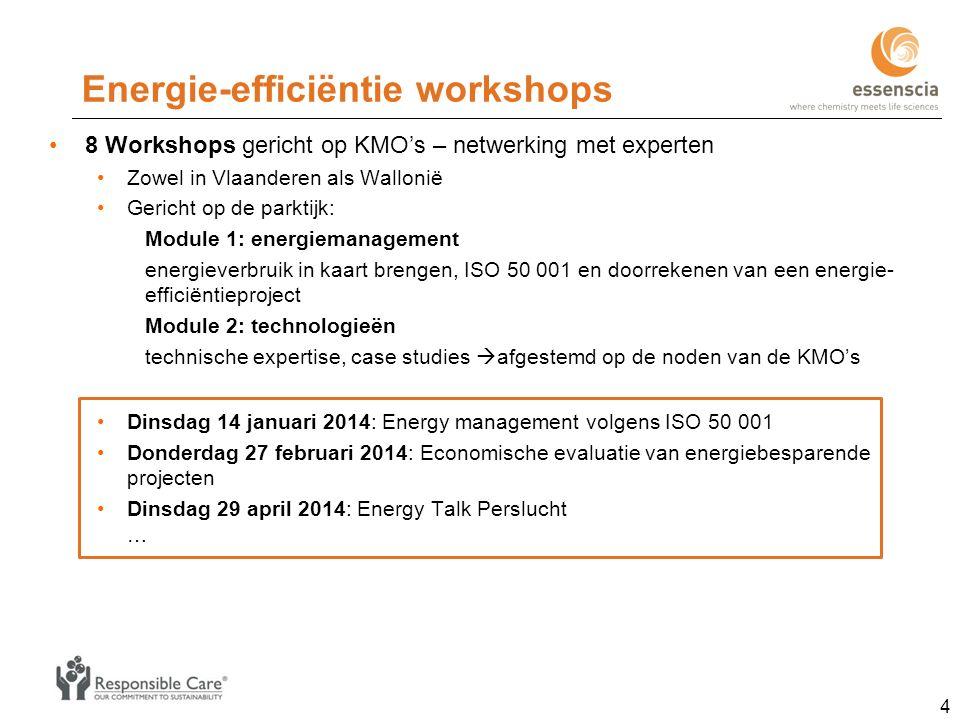 Energie-efficiëntie workshops 8 Workshops gericht op KMO's – netwerking met experten Zowel in Vlaanderen als Wallonië Gericht op de parktijk: Module 1: energiemanagement energieverbruik in kaart brengen, ISO 50 001 en doorrekenen van een energie- efficiëntieproject Module 2: technologieën technische expertise, case studies  afgestemd op de noden van de KMO's Dinsdag 14 januari 2014: Energy management volgens ISO 50 001 Donderdag 27 februari 2014: Economische evaluatie van energiebesparende projecten Dinsdag 29 april 2014: Energy Talk Perslucht … 4