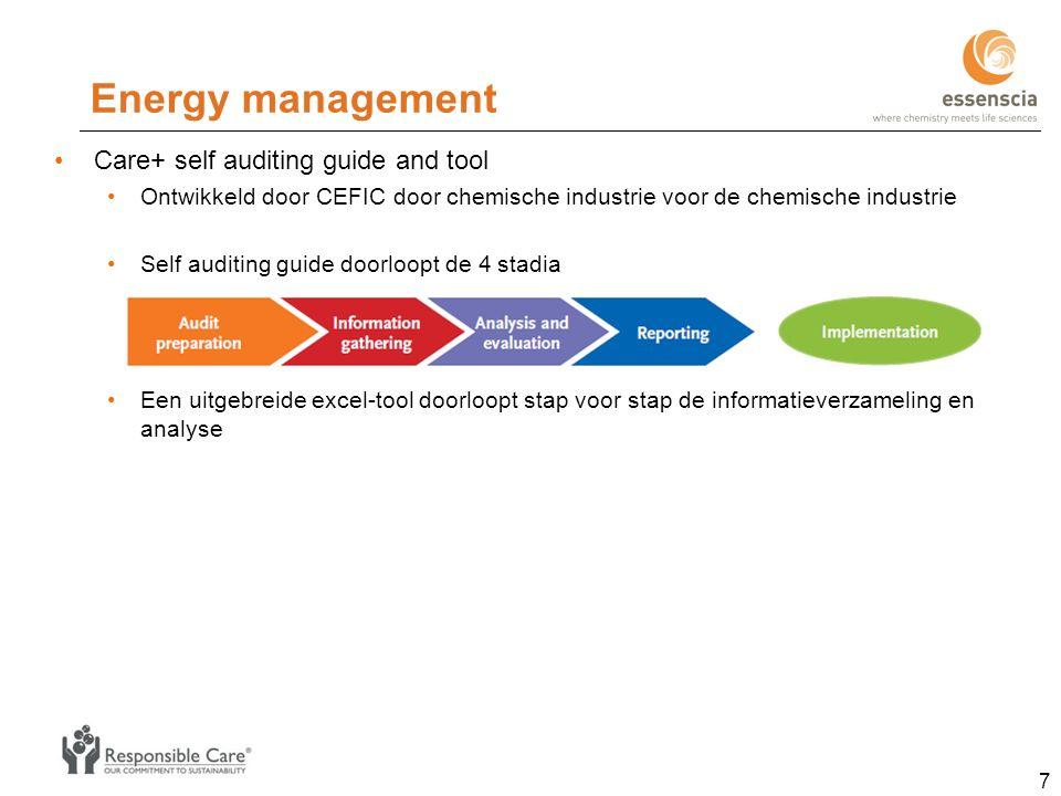Energy management Care+ self auditing guide and tool Ontwikkeld door CEFIC door chemische industrie voor de chemische industrie Self auditing guide doorloopt de 4 stadia Een uitgebreide excel-tool doorloopt stap voor stap de informatieverzameling en analyse 7