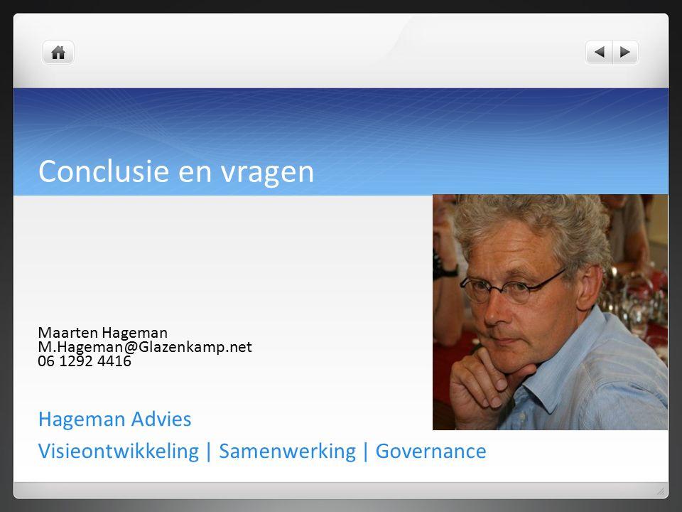 Conclusie en vragen Hageman Advies Visieontwikkeling | Samenwerking | Governance Maarten Hageman M.Hageman@Glazenkamp.net 06 1292 4416
