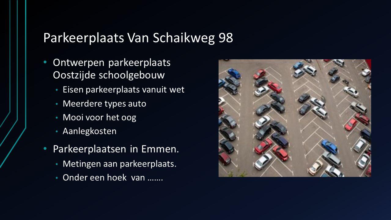 Parkeerplaats Van Schaikweg 98 Ontwerpen parkeerplaats Oostzijde schoolgebouw Eisen parkeerplaats vanuit wet Meerdere types auto Mooi voor het oog Aan
