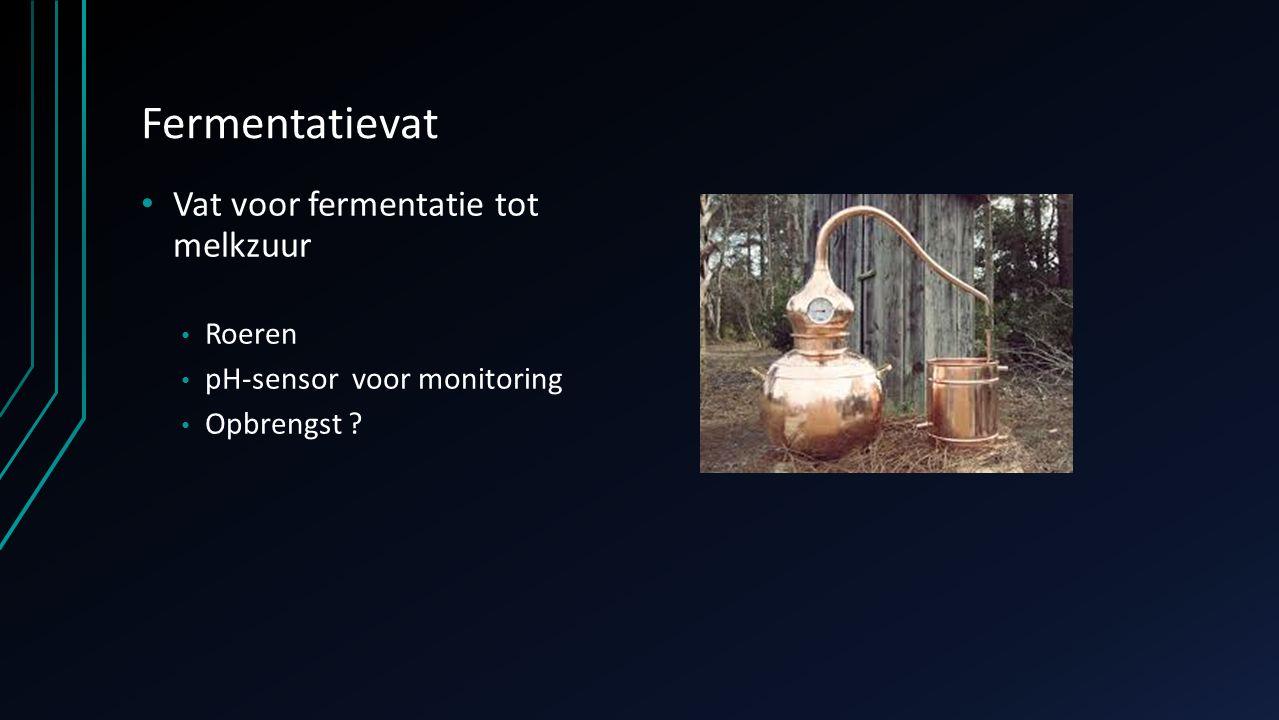 Fermentatievat Vat voor fermentatie tot melkzuur Roeren pH-sensor voor monitoring Opbrengst ?