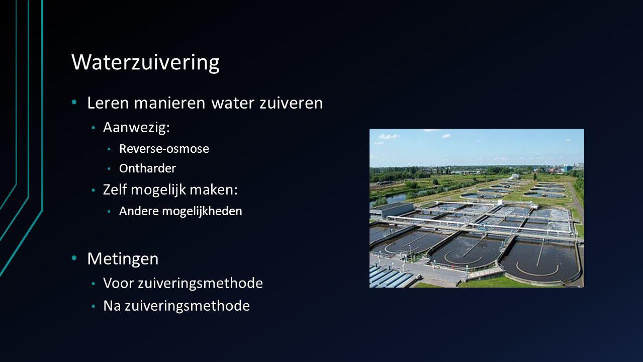 Waterzuivering Leren manieren water zuiveren Aanwezig: Reverse-osmose Ontharder Zelf mogelijk maken: Andere mogelijkheden Metingen Voor zuiveringsmeth