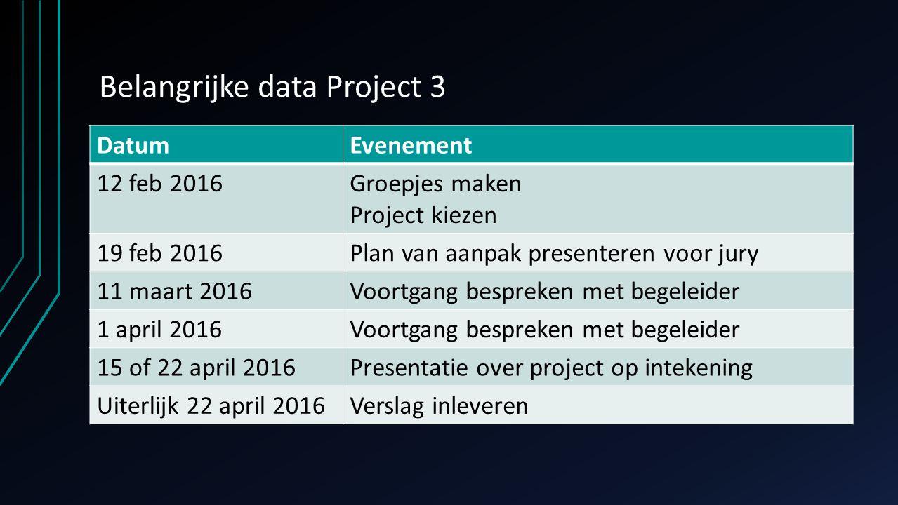 Belangrijke data Project 3 DatumEvenement 12 feb 2016Groepjes maken Project kiezen 19 feb 2016Plan van aanpak presenteren voor jury 11 maart 2016Voort