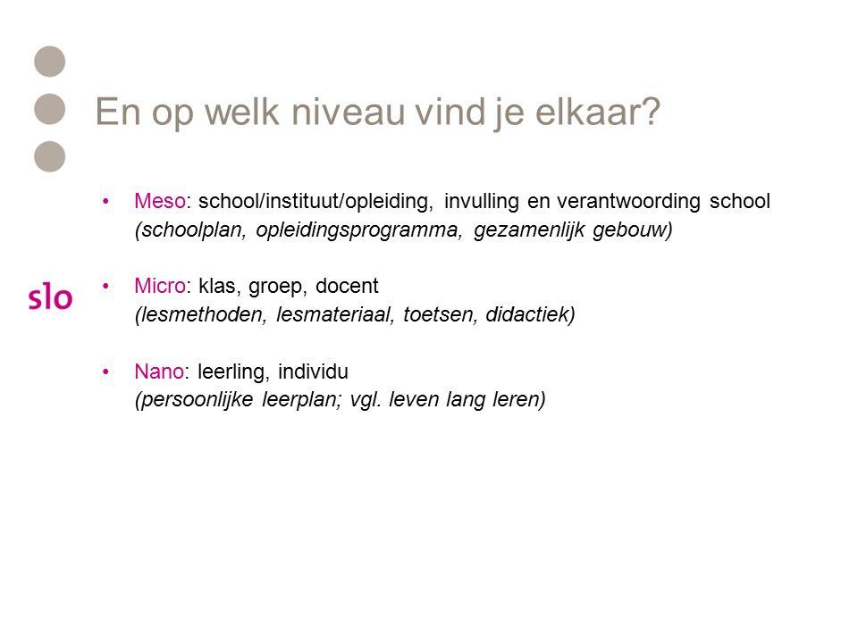 En op welk niveau vind je elkaar? Meso: school/instituut/opleiding, invulling en verantwoording school (schoolplan, opleidingsprogramma, gezamenlijk g