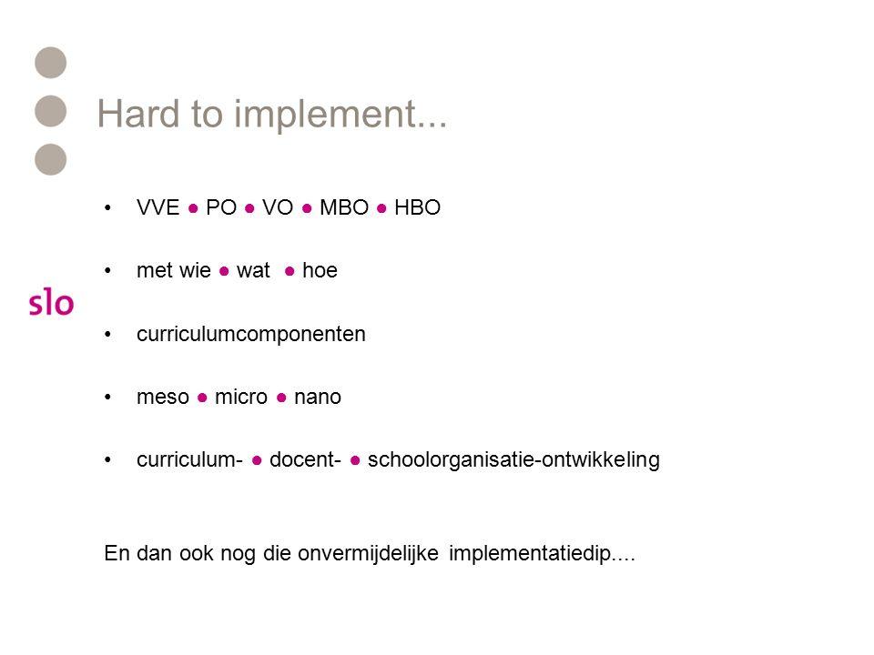 Hard to implement... VVE ● PO ● VO ● MBO ● HBO met wie ● wat ● hoe curriculumcomponenten meso ● micro ● nano curriculum- ● docent- ● schoolorganisatie
