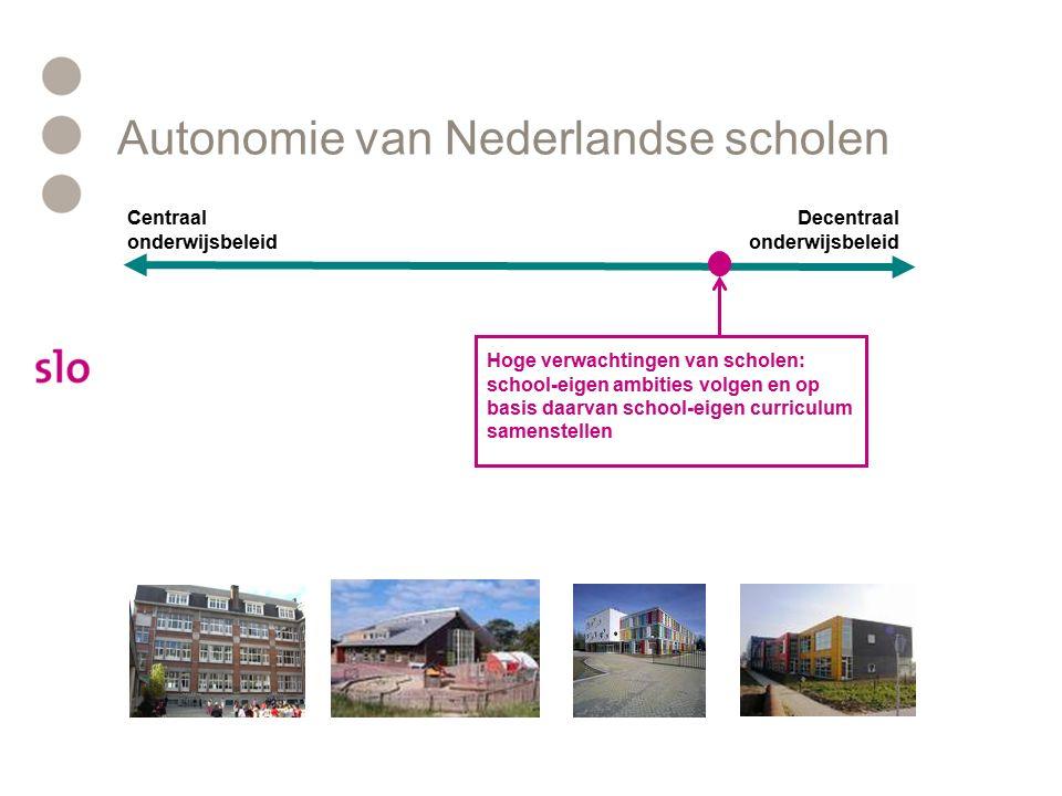 Autonomie van Nederlandse scholen Decentraal onderwijsbeleid Centraal onderwijsbeleid Hoge verwachtingen van scholen: school-eigen ambities volgen en op basis daarvan school-eigen curriculum samenstellen