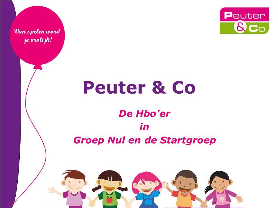 Peuter & Co De Hbo'er in Groep Nul en de Startgroep Van spelen word je vrolijk!