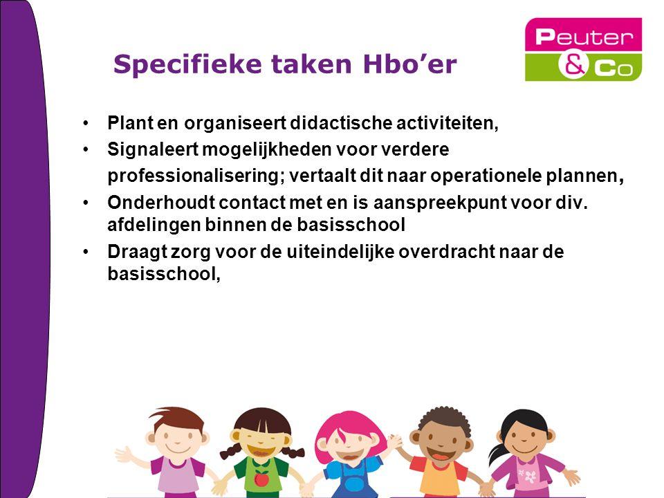 Specifieke taken Hbo'er Plant en organiseert didactische activiteiten, Signaleert mogelijkheden voor verdere professionalisering; vertaalt dit naar operationele plannen, Onderhoudt contact met en is aanspreekpunt voor div.