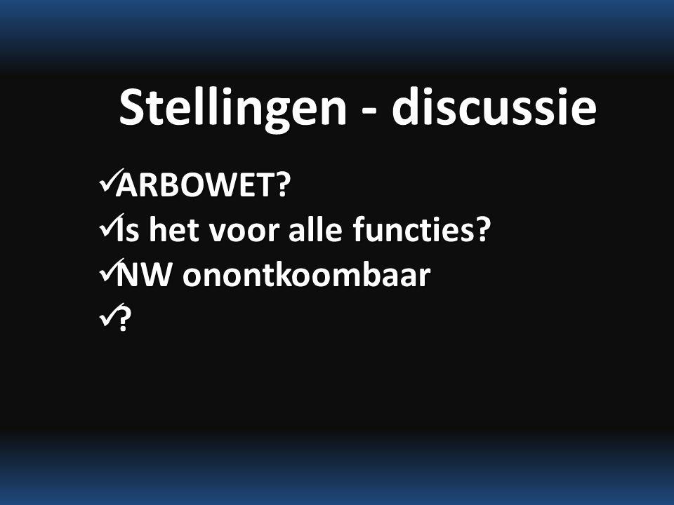 Stellingen - discussie ARBOWET. ARBOWET. Is het voor alle functies.