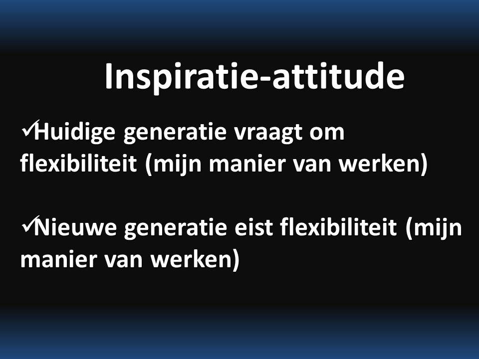 Inspiratie-attitude Huidige generatie vraagt om flexibiliteit (mijn manier van werken) Huidige generatie vraagt om flexibiliteit (mijn manier van werken) Nieuwe generatie eist flexibiliteit (mijn manier van werken) Nieuwe generatie eist flexibiliteit (mijn manier van werken)