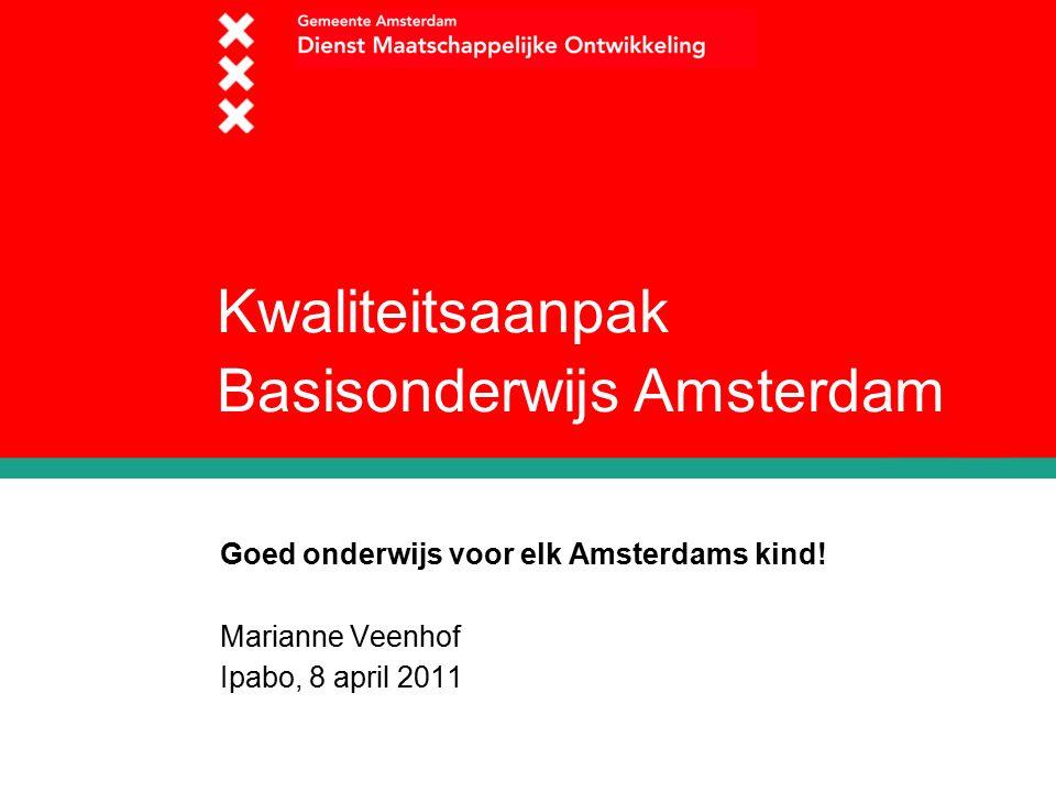 Kwaliteitsaanpak Basisonderwijs Amsterdam Goed onderwijs voor elk Amsterdams kind.