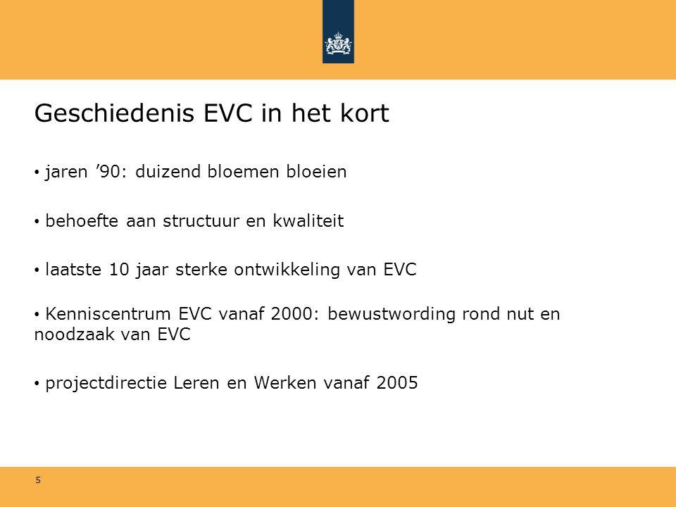 6 Convenant EVC 2006 -Convenant 2006: bevordering kwaliteit EVC, kwaliteitscode EVC integraal onderdeel -Andere doelen: - toegankelijk maken EVC (wat is EVC en hoe moet het wordenaangeboden) -transparantie (vergelijking EVC-procedures) -bevorderen civiel effect -Kwaliteitscode: uitgewerkt in normering dat toetsingskader is voor beoordelende organisaties