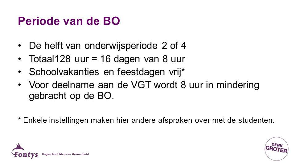 Periode van de BO De helft van onderwijsperiode 2 of 4 Totaal128 uur = 16 dagen van 8 uur Schoolvakanties en feestdagen vrij* Voor deelname aan de VGT wordt 8 uur in mindering gebracht op de BO.