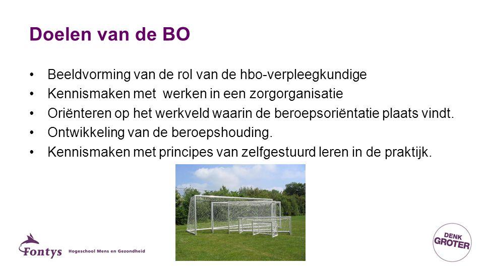 Doelen van de BO Beeldvorming van de rol van de hbo-verpleegkundige Kennismaken met werken in een zorgorganisatie Oriënteren op het werkveld waarin de