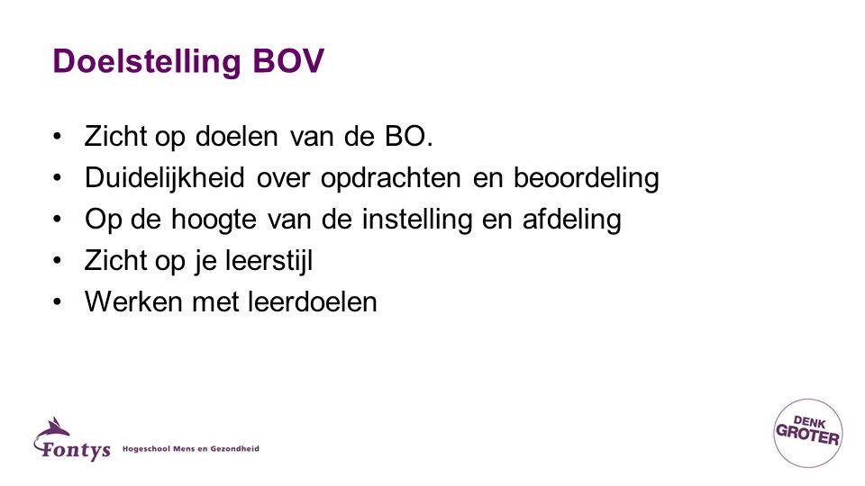 Doelstelling BOV Zicht op doelen van de BO. Duidelijkheid over opdrachten en beoordeling Op de hoogte van de instelling en afdeling Zicht op je leerst
