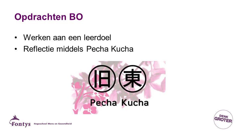 Opdrachten BO Werken aan een leerdoel Reflectie middels Pecha Kucha