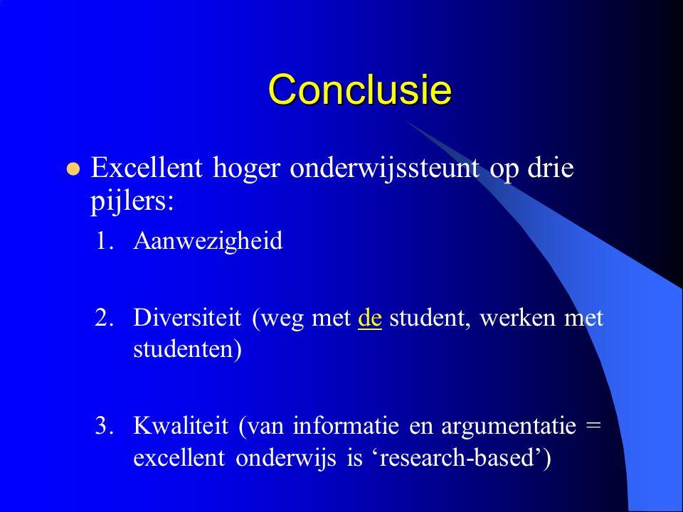 Conclusie Conclusie Excellent hoger onderwijssteunt op drie pijlers: 1.Aanwezigheid 2.Diversiteit (weg met de student, werken met studenten) 3.Kwaliteit (van informatie en argumentatie = excellent onderwijs is 'research-based')