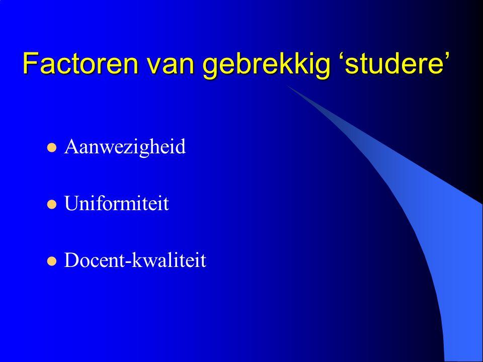 Factoren van gebrekkig 'studere' Factoren van gebrekkig 'studere' Aanwezigheid Uniformiteit Docent-kwaliteit