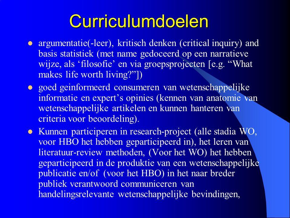 Curriculumdoelen Curriculumdoelen argumentatie(-leer), kritisch denken (critical inquiry) and basis statistiek (met name gedoceerd op een narratieve wijze, als 'filosofie' en via groepsprojecten [e.g.