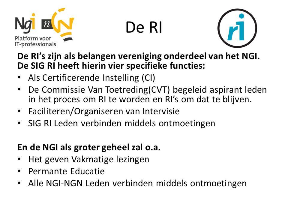 De RI De RI's zijn als belangen vereniging onderdeel van het NGI. De SIG RI heeft hierin vier specifieke functies: Als Certificerende Instelling (CI)