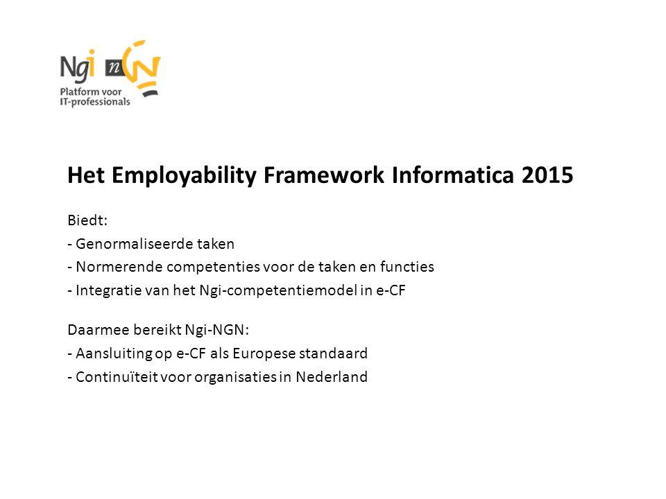 Het Employability Framework Informatica 2015 Biedt: - Genormaliseerde taken - Normerende competenties voor de taken en functies - Integratie van het Ngi-competentiemodel in e-CF Daarmee bereikt Ngi-NGN: - Aansluiting op e-CF als Europese standaard - Continuïteit voor organisaties in Nederland
