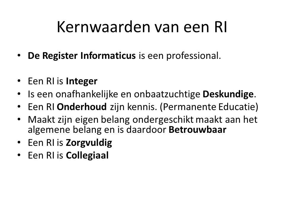 Kernwaarden van een RI De Register Informaticus is een professional. Een RI is Integer Is een onafhankelijke en onbaatzuchtige Deskundige. Een RI Onde