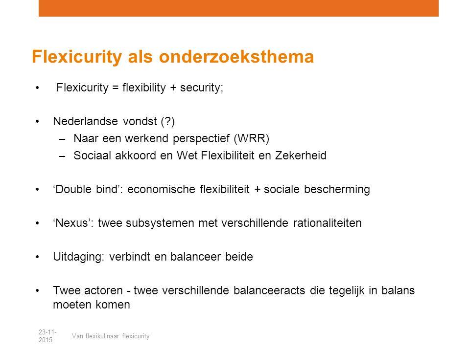 Flexicurity = flexibility + security; Nederlandse vondst (?) –Naar een werkend perspectief (WRR) –Sociaal akkoord en Wet Flexibiliteit en Zekerheid 'Double bind': economische flexibiliteit + sociale bescherming 'Nexus': twee subsystemen met verschillende rationaliteiten Uitdaging: verbindt en balanceer beide Twee actoren - twee verschillende balanceeracts die tegelijk in balans moeten komen Flexicurity als onderzoeksthema 23-11- 2015 Van flexikul naar flexicurity