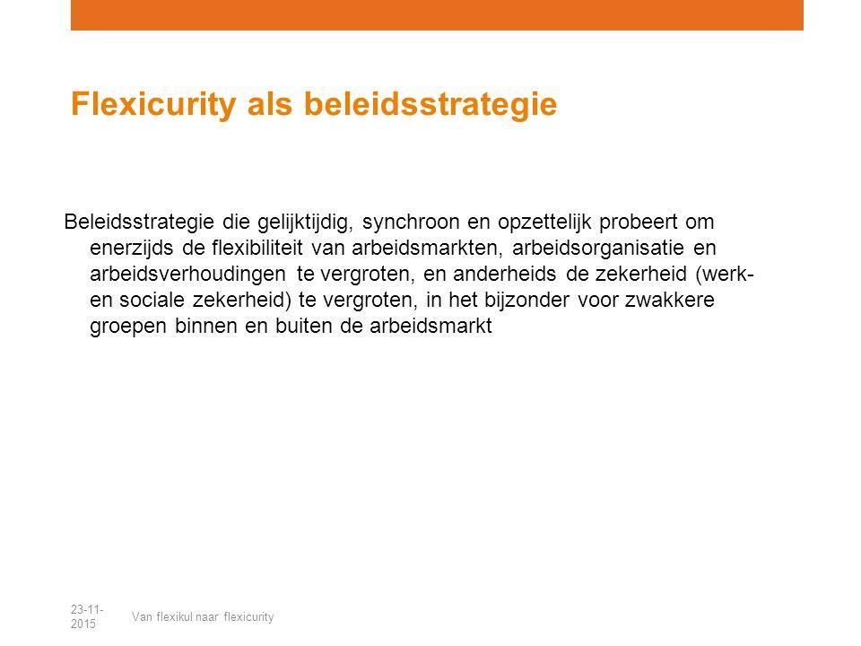 Beleidsstrategie die gelijktijdig, synchroon en opzettelijk probeert om enerzijds de flexibiliteit van arbeidsmarkten, arbeidsorganisatie en arbeidsverhoudingen te vergroten, en anderheids de zekerheid (werk- en sociale zekerheid) te vergroten, in het bijzonder voor zwakkere groepen binnen en buiten de arbeidsmarkt Flexicurity als beleidsstrategie 23-11- 2015 Van flexikul naar flexicurity